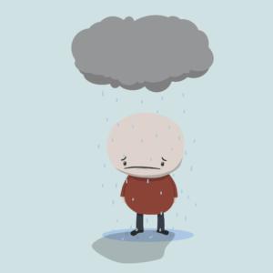 Sad Man in Rain Cartoon