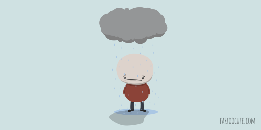Sad Man in Rain Cartoon