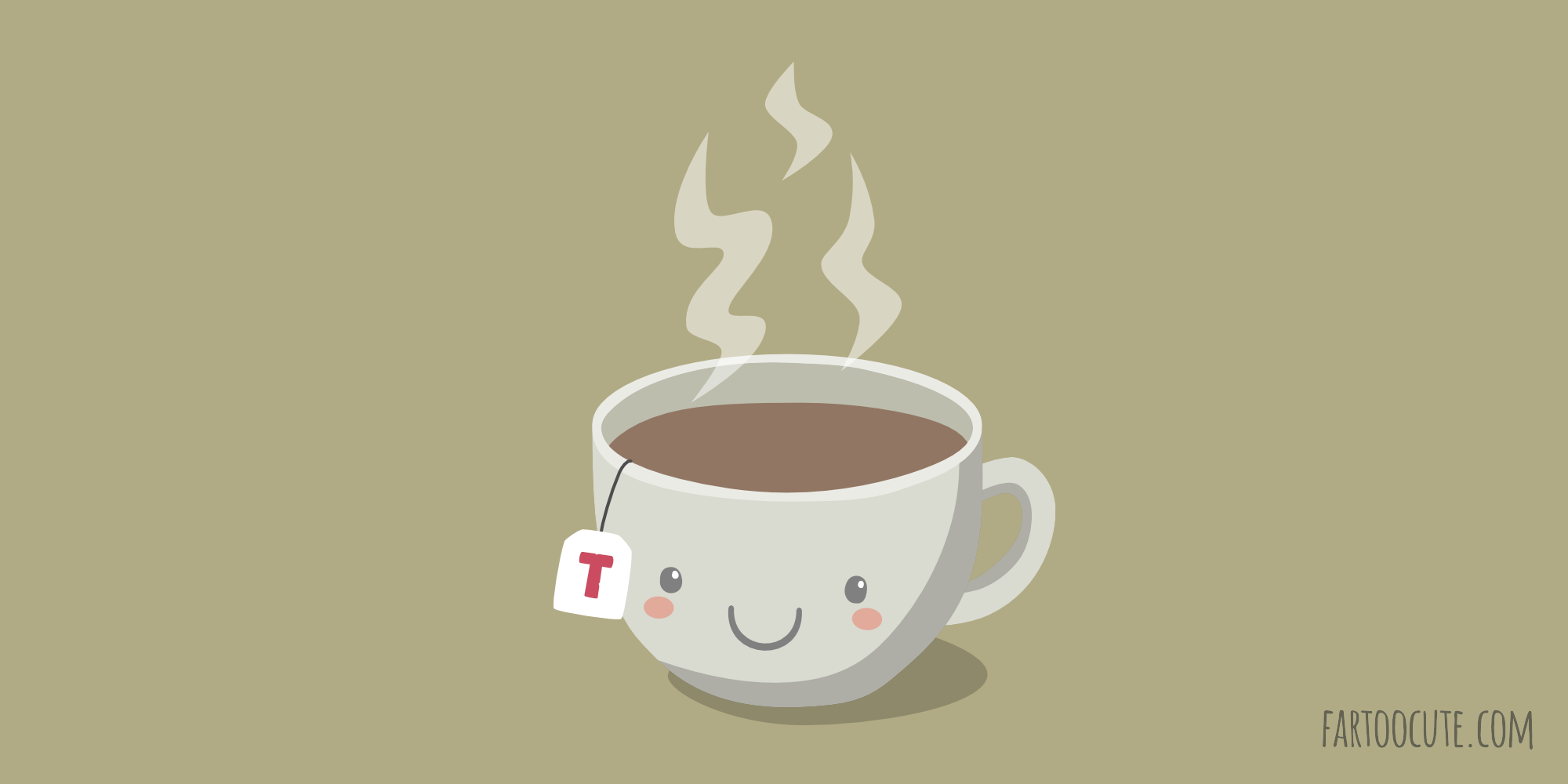 A steaming hot cup of tea – Far too Cute