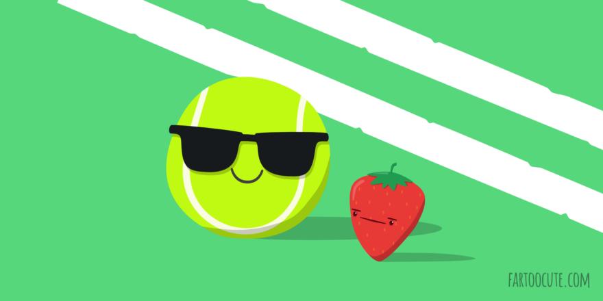 Cute Strawberry Tennis Cartoon